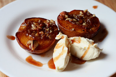 Antics of a cycling cook: Roasted peaches with vanilla mascarpone