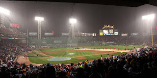 photograph of red sox fenway park in boston massachusetts during a rain delay baseball sports