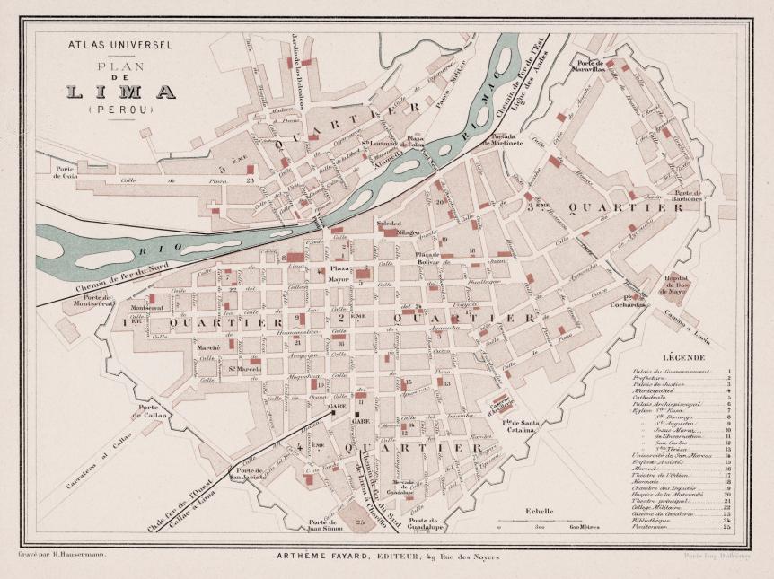 Planos de Lima Antigua Plan de Lima Perou  Ao 1896 Hausermann