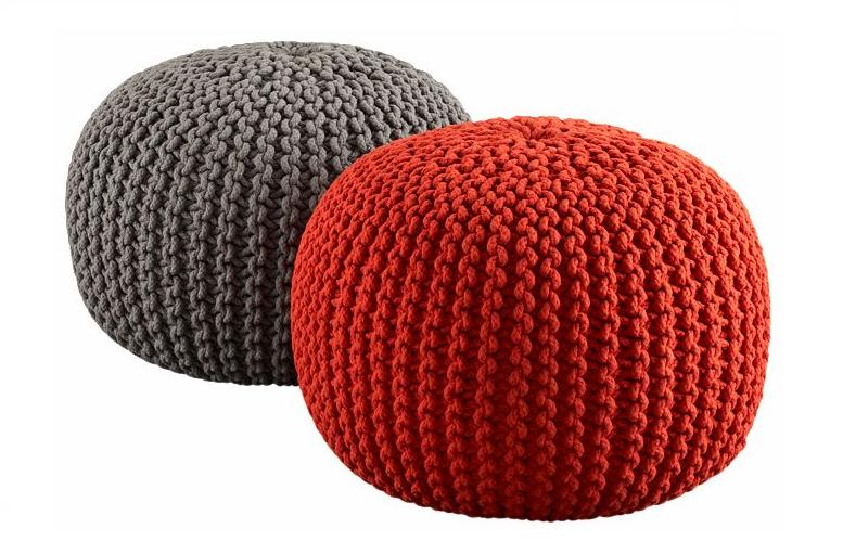 Urban Shop Round Knit Pouf Home Décor Living or Bedroom