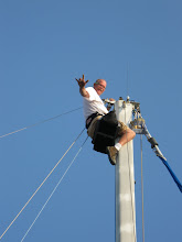 Working on the mast