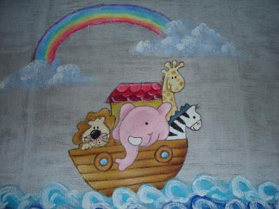 pintura em tecido infantil fralda arca noé