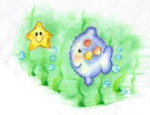 pintura em tecido infantil fralda peixinho