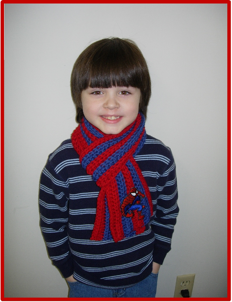 Positively Crochet Boys Spiderman Inspired Scarf