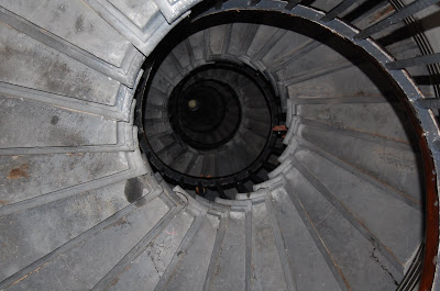 Looking up at the spiral staircase in the Monument, London