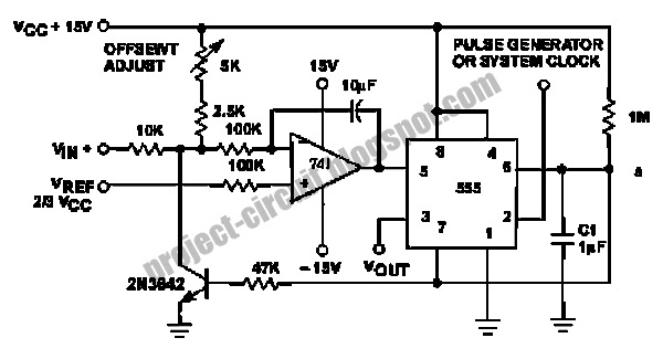 electronics technology  voltage to pulse duration converter circuit