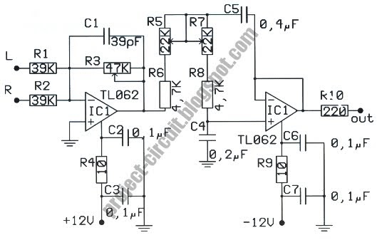 electronics technology  low pass filter circuit for subwoofer