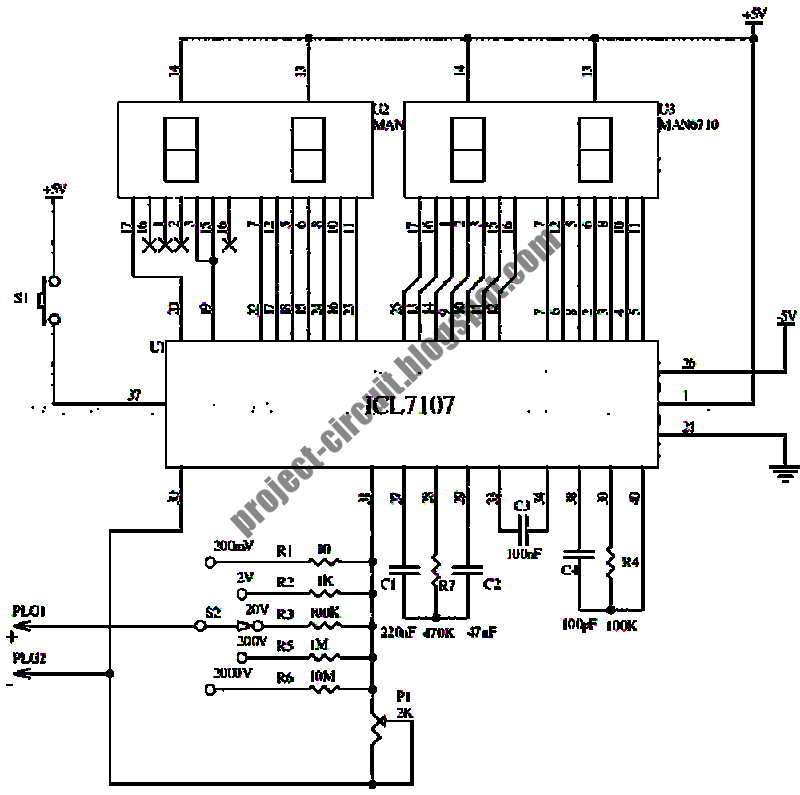 free project circuit schematic  digital voltmeter circuit