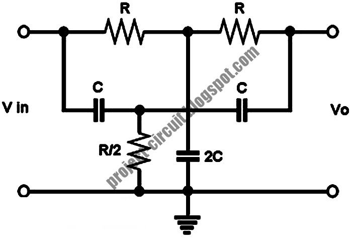free project circuit schematic  a twin t passive notch filter