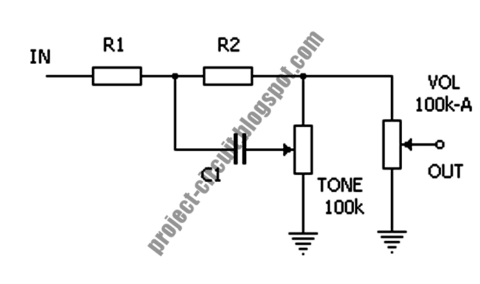 free project circuit diagram  passive treble control circuit for guitar pedal