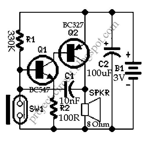 free project circuit diagram  magnetic reed switch alarm