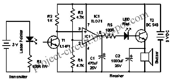 free project circuit diagram  laser door alarm circuit