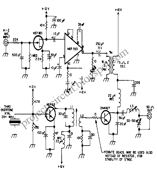 free project circuit diagram  radio frequency  rf  watt meter circuit