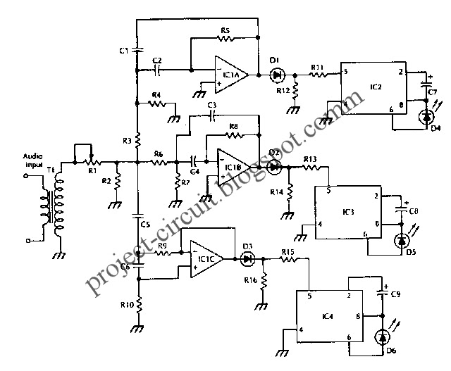 free project circuit diagram  color organ electronic circuit using lm3909 ic