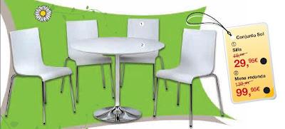 Mesa redonda y sillas baratas for Mesas redondas baratas