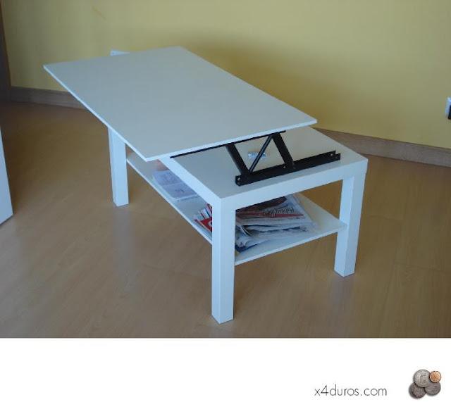 Ikea hack convertir la mesa lack en mesa elevable for Ikea mesas salon centro