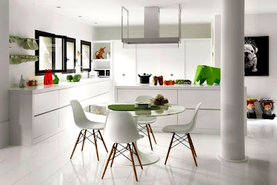 Beautiful-white-kitchen-with-white-kitchen-cabinets-white-ceramic-tiles-picture-sink-glass-round-table-picture-and-white-chairs