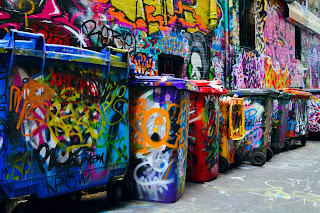 Graffiti Bins - photographed down Hosier Lane in Melbourne