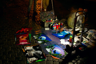 An artists work in Trastevere