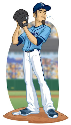 Tampa Bay Rays pitcher Danny Moore illustrations using Illustrator