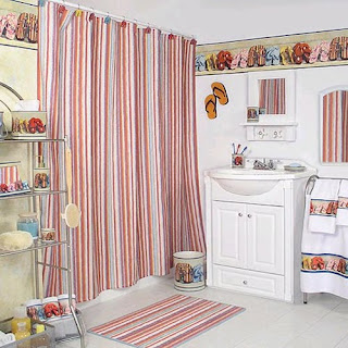 Traditional Kids Bathroom Pictures Kids small bathroom design with colorful curtain washbasin