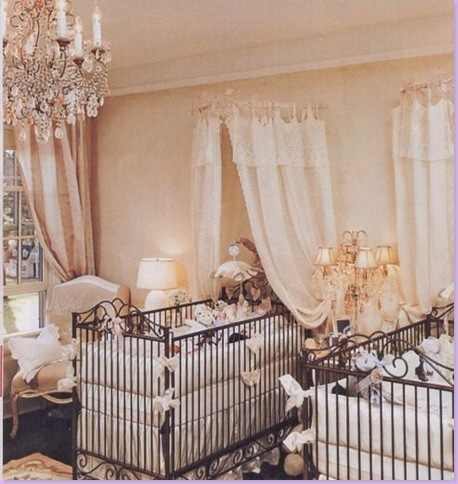 Nursery for Twins Jennifer Lopez boy/girl twins baby nursery is decorated