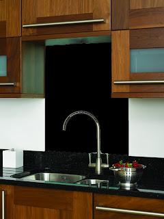 Black Glass Tiles Black splashback glass tile Indus