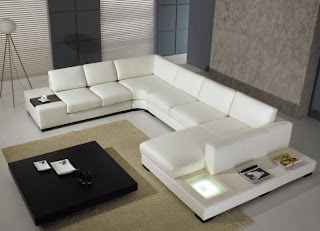 Retro Living Room Furniture Modern living room with modern white leather sectional sofa