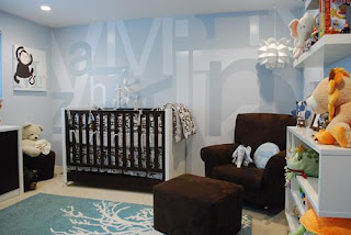 Baby Boy Room Paint Cool baby boy nursery! Dark wood crib with baby blue graphic walls