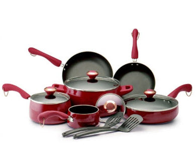 Paula Deen Porcelain Nonstick 12 Piece Cookware Set in Red