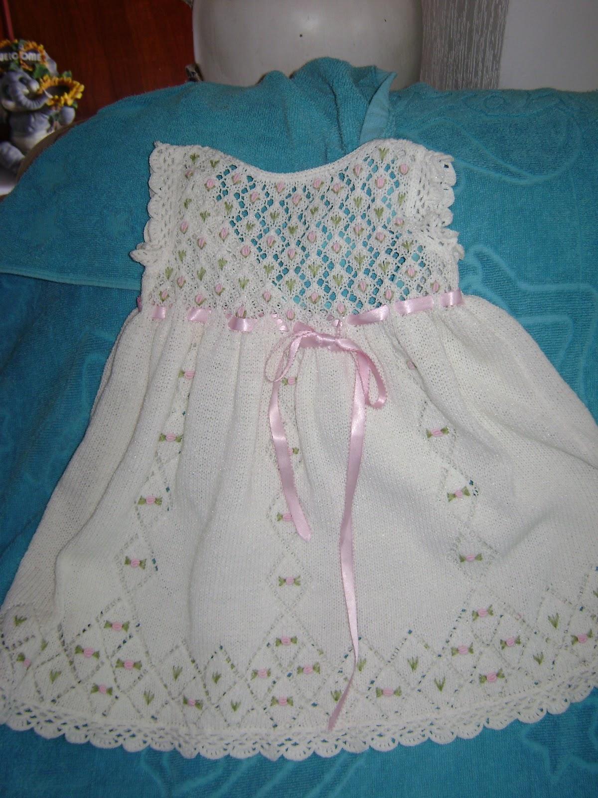 vestidos de bautizo para bebes tejidos