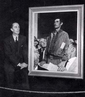 Norman Rockwell at the opening of the Four Freedoms tour, 27 April 1943 (Photo)