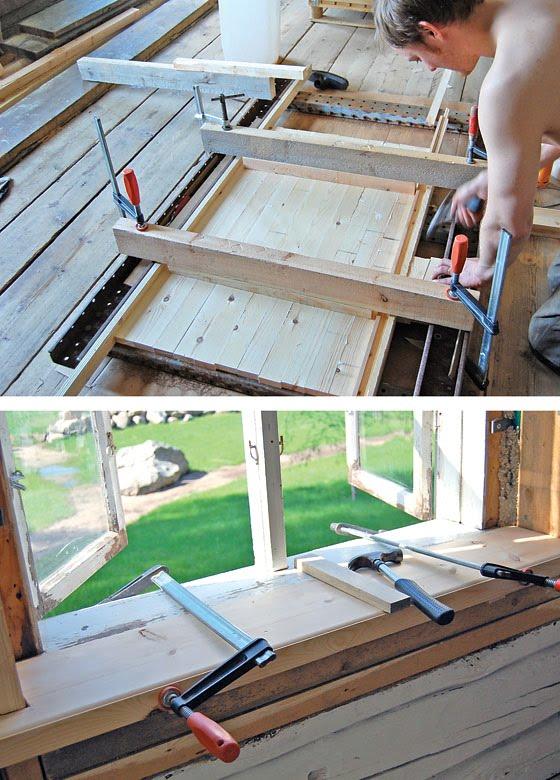 Limning av material till fönstersmygar och limning av fönsterbräda.