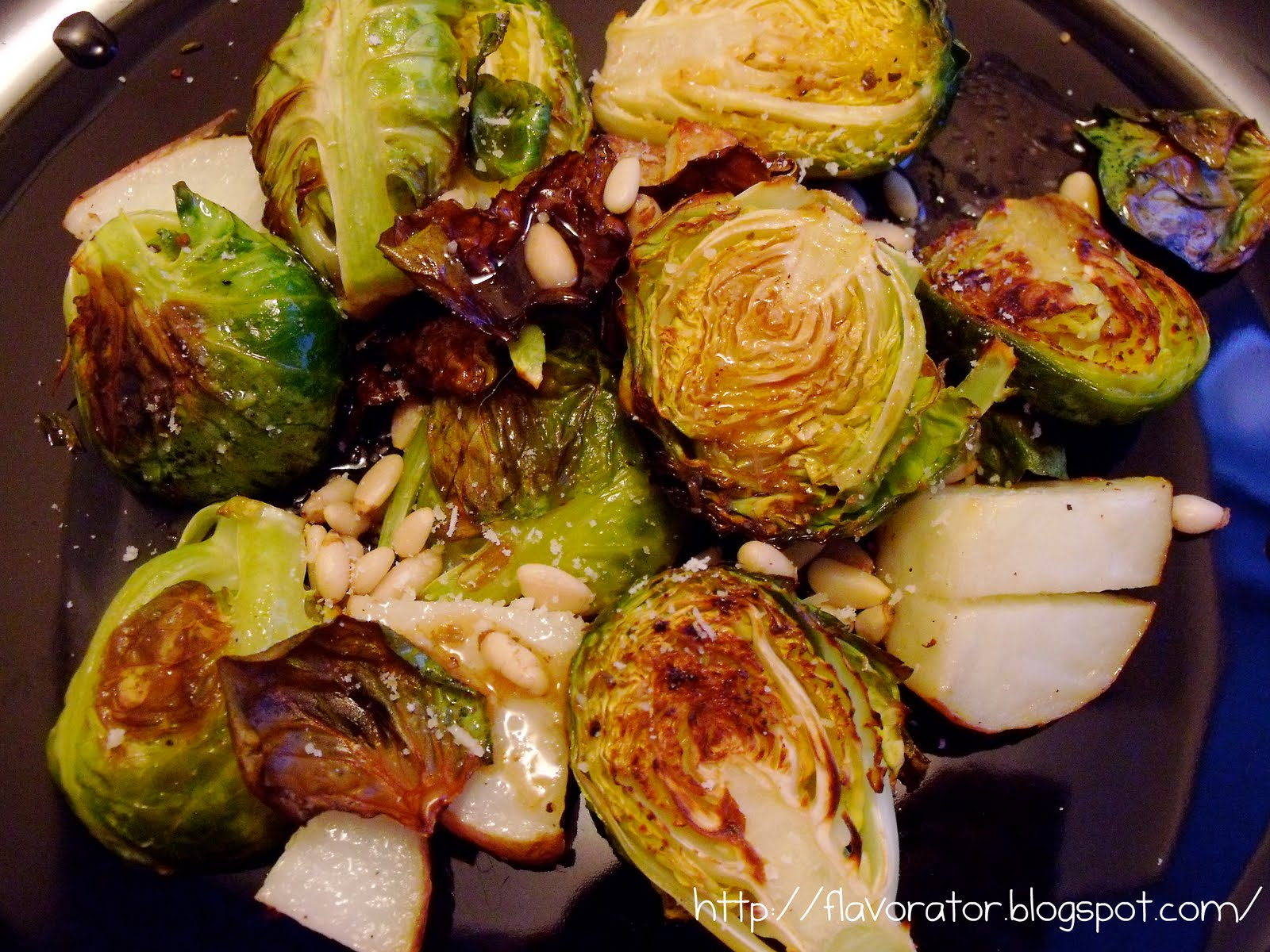 fLAVORATOr: Balsamic Roasted Brussels Sprouts with Toasted Pine Nuts