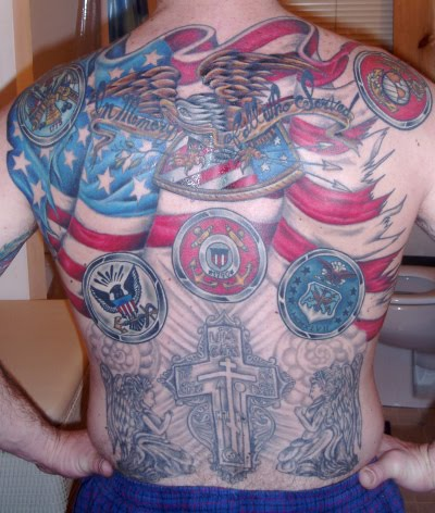 Full Back American Eagle Concept Tattoo Design. American Flag Tattoo