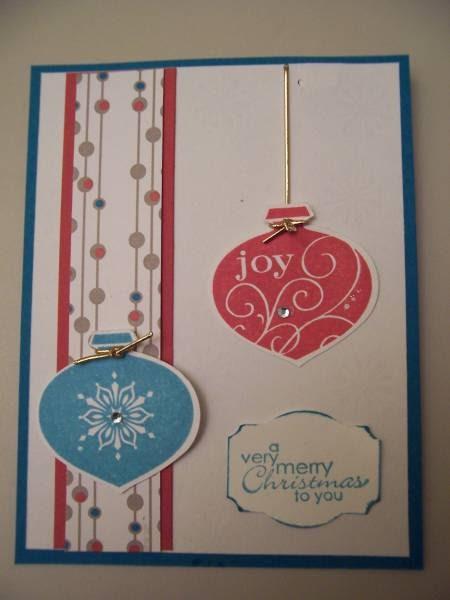 F cil y simp tica tarjeta bombitas navide as tarjetas - Tarjetas de navidad elegantes ...