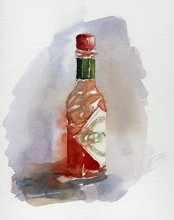 Rouge Tabasco aquarelle watercolor nature morte still life