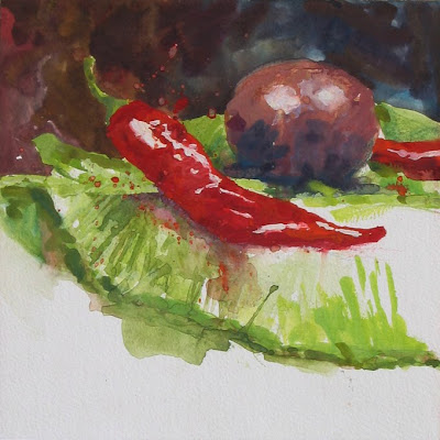 serial piment gouache nature morte still life travail d'atelier workshop session
