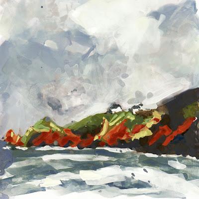 Pointe du Toulinguet, Bretagne, Brittany, presqu'île de Crozon, Finistère,  peinture sur tirage photo, mixed media on photo print, gouache, géolocalisation, landscape, paysage, multiple, technique mixte