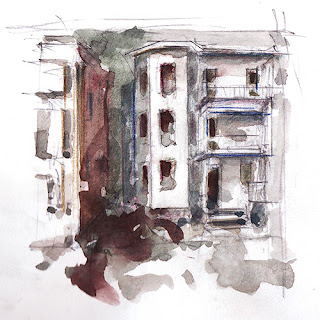 Boston aquarelle croquis sketch watercolor Virtual Paintout