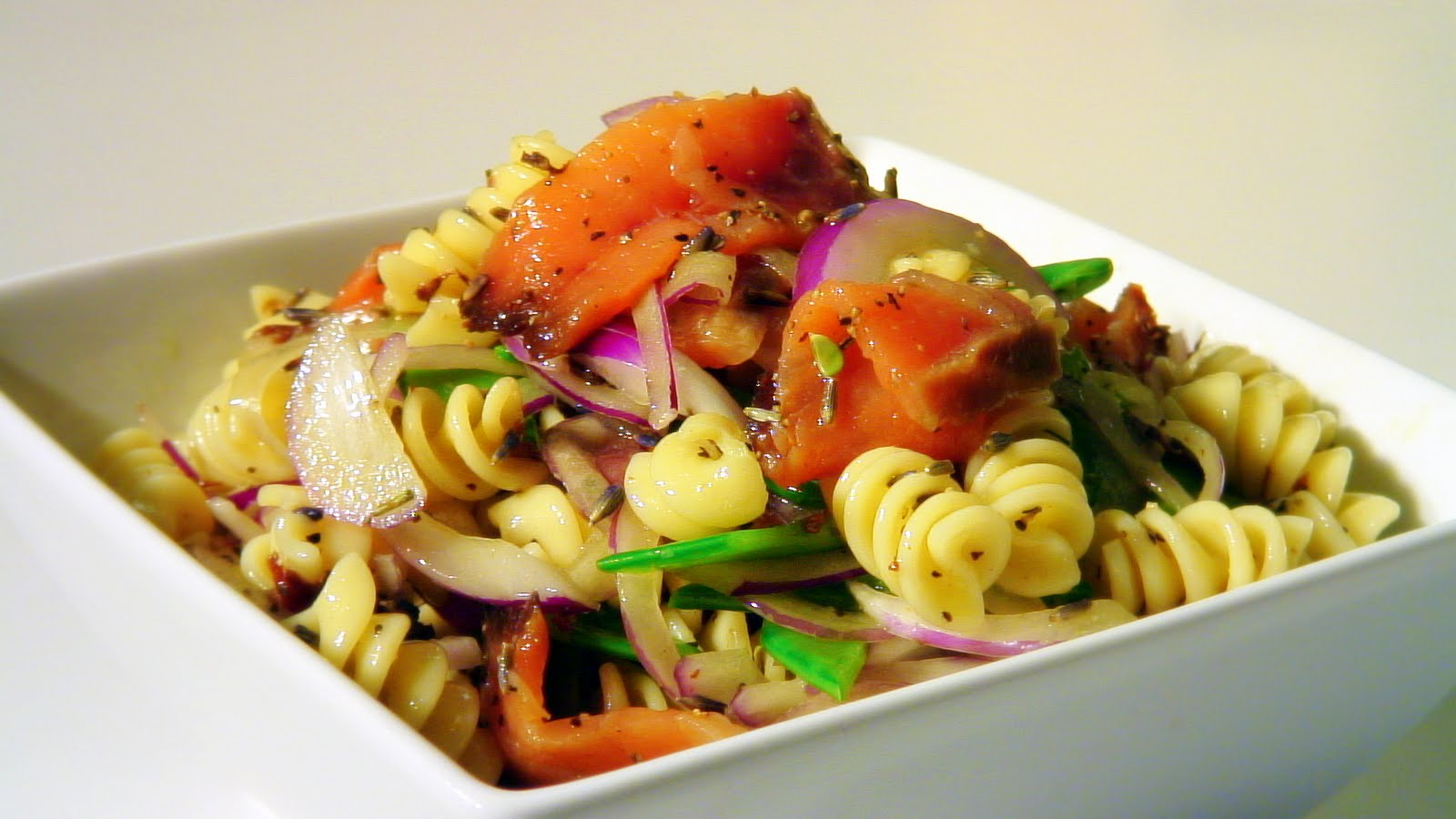 Edible Menu: Pasta Salad w/ Snow Peas, Smoked Salmon, & Lavender