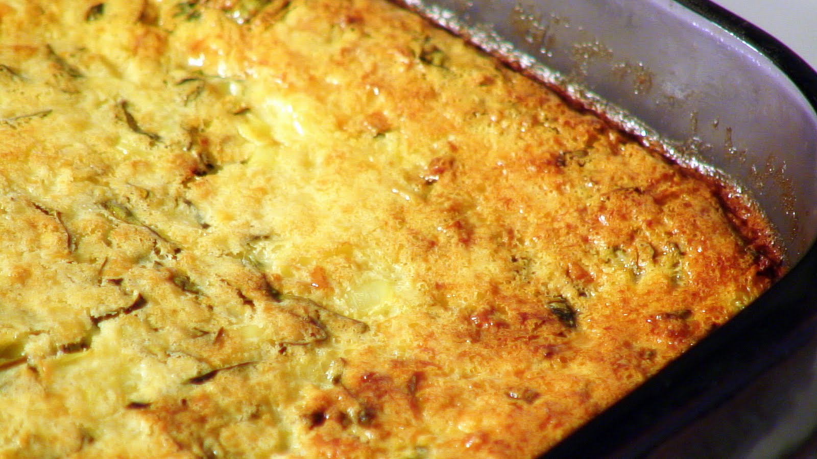 Edible Menu: Roasted Corn Pudding w/ Fresh Basil