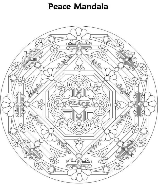 Free Coloring Pages Of Mandala Peace Peace Mandala Coloring Pages