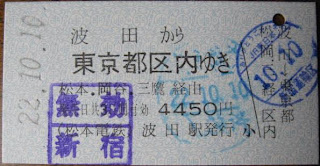 松本電気鉄道波田駅 硬券JR連絡乗車券