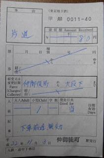 東京メトロ 出札補充券1 片道乗車券 仲御徒町駅