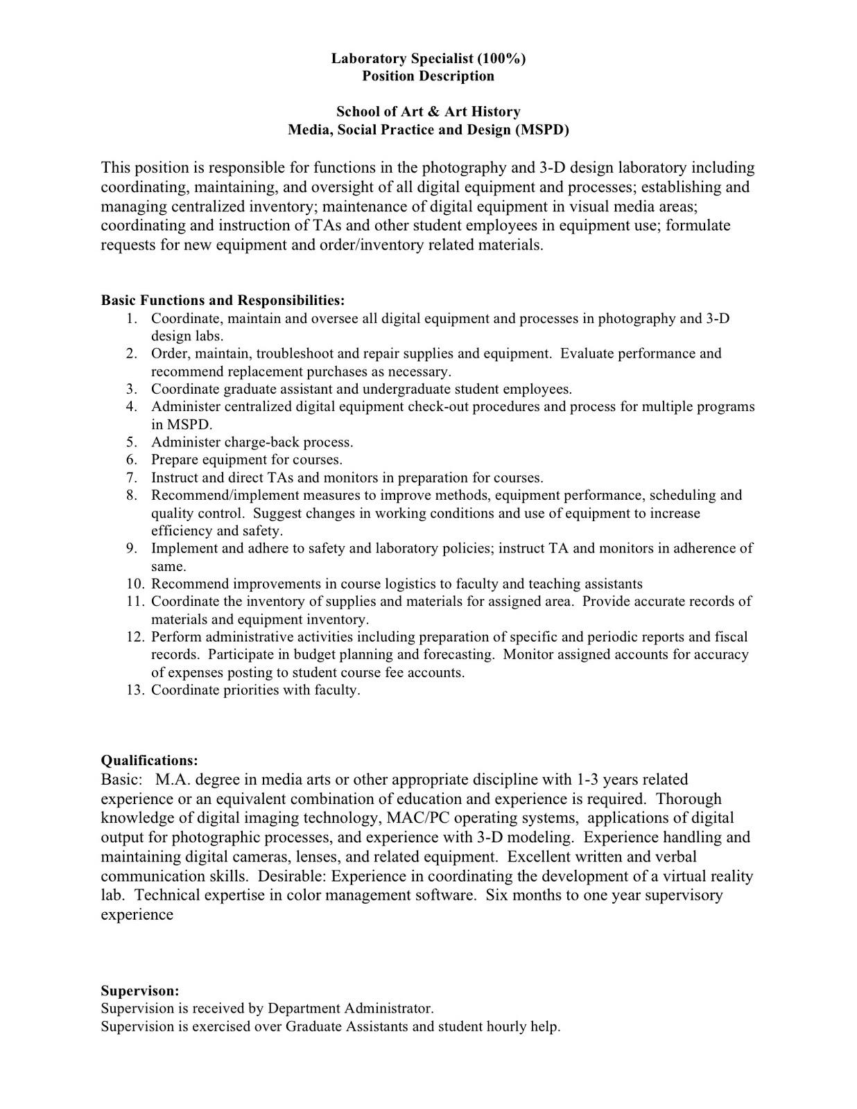 Photographer Job Description – Logistics Specialist Job Description