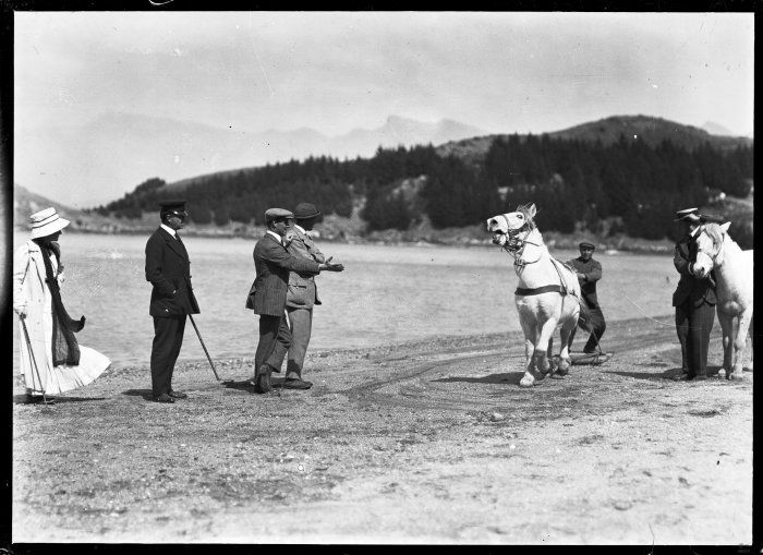 [Group+including+Robert+Falcon+Scott,+with+Mongolian+ponies,+on+Quail+Island,+ca+1910.nz]