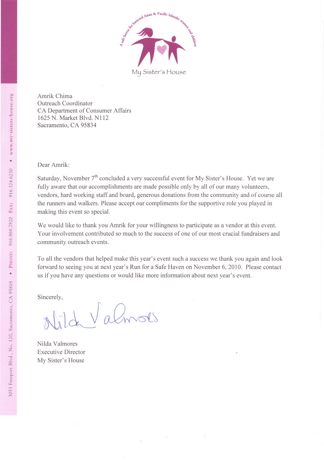 thank you letter to sponsors