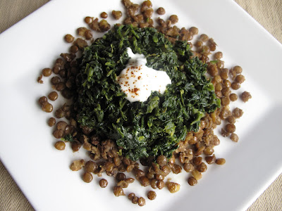 Lentils topped with Mildly Spiced Spinach and Yogurt