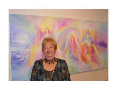 Glenyss with some of her Angel Art at Sanctuary Angel Gallery In Frankston